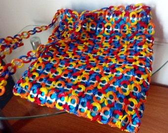 "NEW!! ""Flintstones"" Red, Blue, Orange and Yellow SODA Tab Pop Top Pull TAB Crochet Purse Bag Handmade"