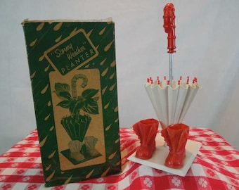 Vintage Planter. Stormy Weather Planter.Umbrella and Boots. Plastic. Original Box.