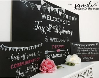 FREE SHIPPING - Adorable Custom Wedding chalkboards (x3)