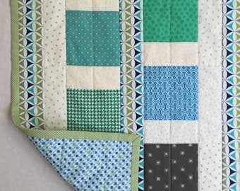 Modern Baby Quilt, Patchwork Baby Quilt, Blue Baby Quilt, Quiltsy Handmade Quilt