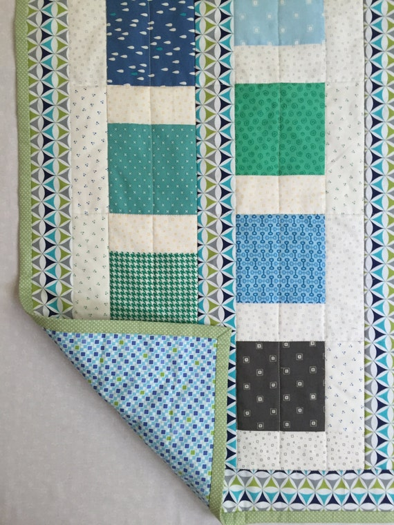 Baby Boy Quilt, Patchwork Baby Quilt, Blue Baby Quilt, Quiltsy Handmade Quilt