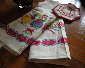Quaint Pair of Startex Dishtowels 40s