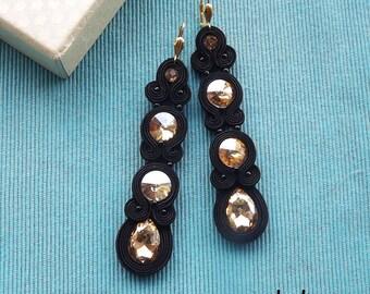 Long Black & Gold Soutache Earrings