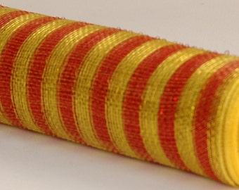 "21"" Red Gold Thin Stripe Deco Poly Mesh, FSU Deco Mesh, Seminoles Deco Poly Mesh, Deco Poly Mesh Wreath Supplies - RE1014A8"