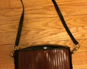 Vintage Cristian Italian Leather Shoulder Handbag- Made In Italy