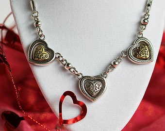 Brighton jewelry etsy authentic retired vintage brighton heart necklace reversible two tone necklace silver gold heart mozeypictures Images