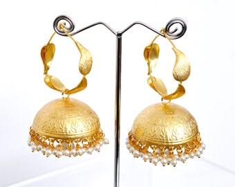 Matt gold jhumki earrings | Indian ethnic earrings | statement earrings