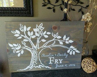 24x16.5 Wood Family Name Tree - Hand painted, Decor, Sign, Painted Board