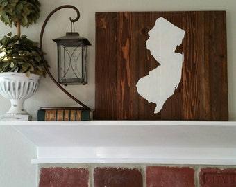 21x17 Wood State Wall Art -New Jersey, NJ silhouette