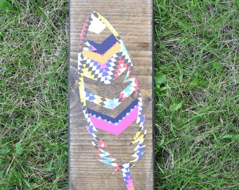 Mixed media chevron feather. item #8