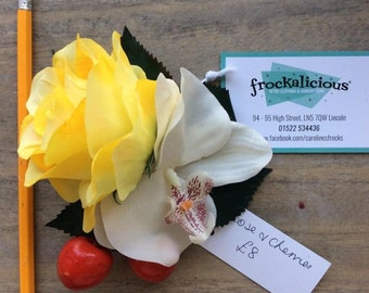 Yellow rose, orchid and cherry hair clip/ fascinator/ corsage