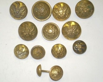 Lot of 10 U.S. Army Buttons & One Cufflink ~ Indian War Era c. 1870.