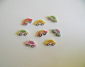 8 Mini Cars Buttons  - #SB-00182