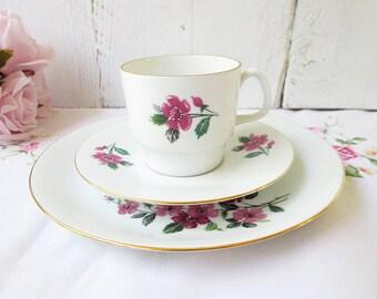 Vintage teacup trio, teaset, vintage plate, cup and saucer, tro teaset