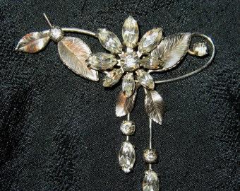 Vintage jewelry Krementz brooch rhinestone floral flower brooch pin pendant