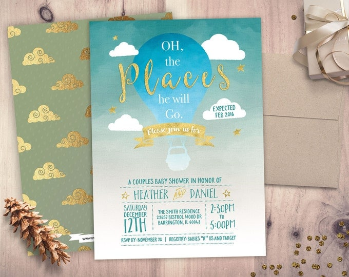 Oh The Places You Will Go Baby Shower Invitation • Baby Shower Invitation • Baby Shower • 5x7 Printable • Oh The Places You'll Go