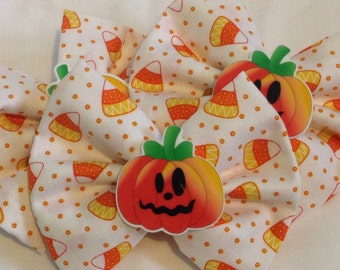 Candy Corn Pumpkin Hair Bow