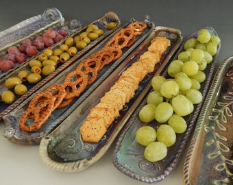 Serving Tray, Hor d'oeuvres, Condiment Tray, Stoneware
