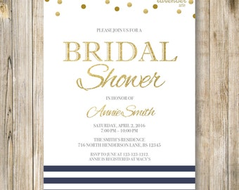 NAVY & GOLD Bridal Shower Invitation, Nautical Stripe Wedding Shower Invite, Modern Navy Blue Gold Glitters Couples Shower Printable, LA013
