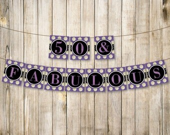 PURPLE 50 & Fabulous Birthday Banner, Fifty Birthday Bunting, Adult 50th Birthday Decor, Digital Purple Glitter Garland, Instant Download