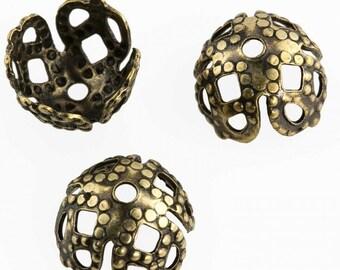 Antiqued brass filigree 4-petal bead cap. 7mm. Pkg of 10. b9-2436(e)