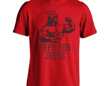 Reps Jesus Working Out Work Out Mma Lifting Gym Men's T-Shirt DB0021