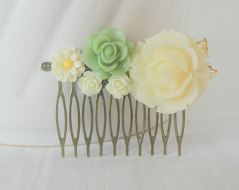 Cream Sage Green Flowers Antique Bronze Hair Comb Bridal Wedding Prom