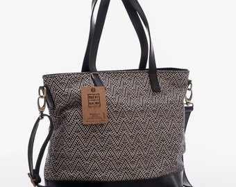 Weave fabric-leather shopper bag