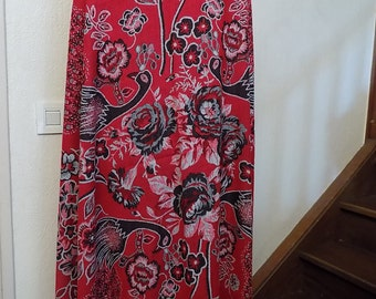 Large scarf in silk and cotton print