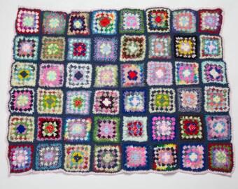 Handmade Granny Square Crochet Baby Blanket Light Pink and Slate Grey Trim 1018