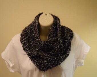 crocheted chunky infinity scarf circle scarf,  grey