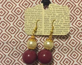 Handmade Dangle Purple/Pearl Earrings