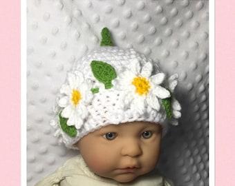 Littlebits Newborn Baby Crocheted White/Yellow Floral Beanie