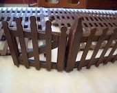 Vintage Christmas 11 Brown Painted Wooden Putz Fence Lengths and Gate