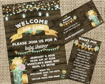 Rustic Glam Mint and Gold Baby Shower With 5x7 Invitation and Diaper Raffle and Books for baby Inserts!