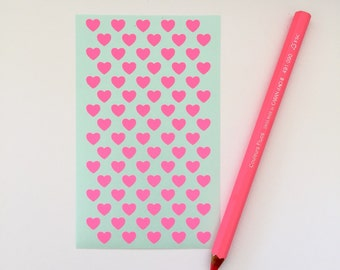 80 Fluro Pink Heart Stickers