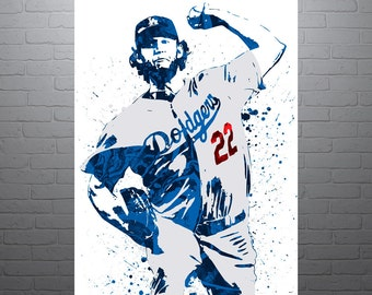 Clayton Kershaw Los Angeles Dodgers, Sports Art Print, Baseball Poster, Kids Decor, Watercolor Contemporary Abstract Drawing Print, Man Cave