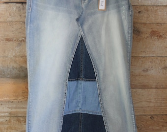 Distressed Denim Maxi Skirt, Ladies Size Extra Large