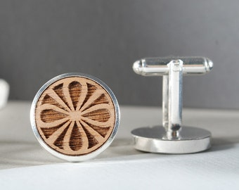 MANDALA - ready to give, gift box, solid Canadian Maple wood, engraved cufflinks, perfect Christmas gift, for him, Father's day gift