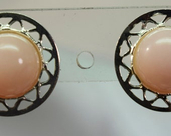 Genuine Pink Opal Earrings Set in 925 Sterling Silver