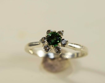 Sterling Silver Chrome Tourmaline Ring with Halo
