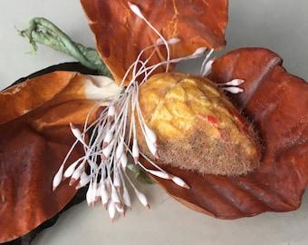 Antique 1940s handmade laquered paper millinery flower bouquet, amber stamen orange orchid, costume design vintage wedding hat boutonniere