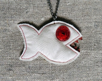 Handmade fabric fish necklace