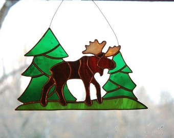 Moose Stained Glass Suncatcher