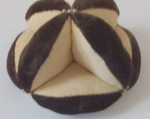 Early Brown Velvet & Cream Rayon Handmade Amish Half Puzzle Ball Pin Cushion