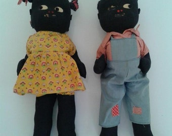 Vintage Black Americana Dolls Boy and Girl