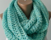 Scarf,Knit Scarf Infinity Scarf Circle Scarf Mint Neck warmer Chunky Bulky Gift for her Gift for his