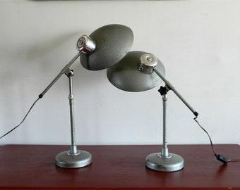 Paire de lampes vintage Ferdinand SOLERE, estampillées SOLR en aluminium et métal chromé