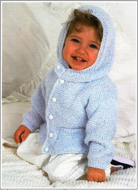 Baby Hooded Coat Knitting Pattern Pdf Baby Jacket With Hood
