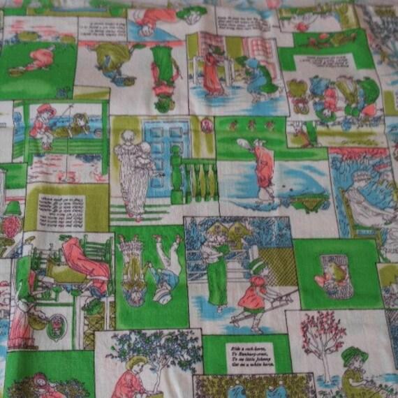 Vintage victorian nursery rhyme fabric by schwartz lehman for Retro nursery fabric